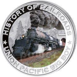 BIG BOY Union Pacific Steam Locomotive History Of Railroads Train Серебро Монета 5$ Либерия 2011