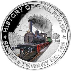SHARP STEWART No. 148 Bulgaria History Of Railroads Train Silver Coin 5$ Liberia 2011