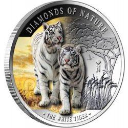 WHITE TIGER Diamonds Of Nature Silver Coin 10$ Fiji 2012