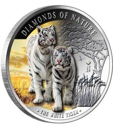 TIGRE BIANCA Diamanti Della Natura White Tiger Moneta Argento 10$ Fiji 2012