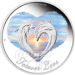 FOREVER LOVE Dolphins Heart Sunset Valentine Silver Proof Coin 50c Tuvalu 2013