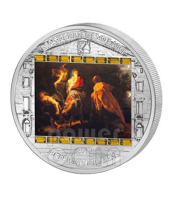 FUGA IN EGITTO Rubens 3 Oz Moneta Argento 20$ Cook Islands 2012