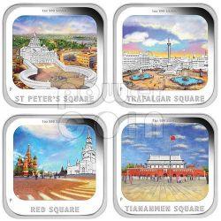 WORLD FAMOUS SQUARES SET 4 Four Coins 1Oz 1$ Silver Tuvalu 2013