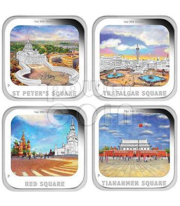 PIAZZE FAMOSE World Famous Squares Set 4 Monete Argento 1$ Tuvalu 2013