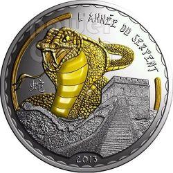 SERPENTE Dorato Snake Lunar Year Moneta Argento 1000 Franchi Camerun 2013