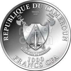 SNAKE GOLDEN Gilded Lunar Year Silver Coin 1000 Francs Cameroon 2013