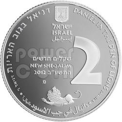 DANIEL IN THE LIONS DEN Plata Proof Moneda 2 NIS Israel 2012