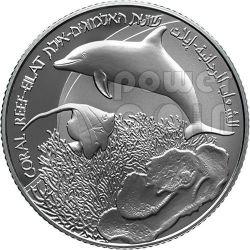 GOLFO EILAT Aqaba Reef Barriera Corallina Moneta Argento Proof 2 NIS Israele 2012