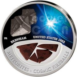 METEORITE BRENHAM Cosmic Fireballs Moneta Argento 10$ Fiji 2012