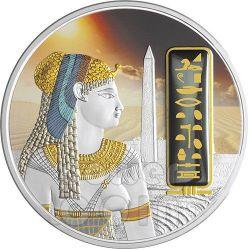 CLEOPATRA Egypt Queen Silver Palladium Gold Gemstone Coin 2 Oz 50$ Fiji 2012