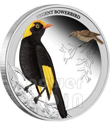 REGENT BOWERBIRD Birds of Australia Silver Proof Coin 50c Australia 2013