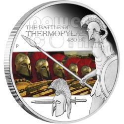 THERMOPYLAE Battle 480 BC 300 Silver Coin 1$ Tuvalu 2009