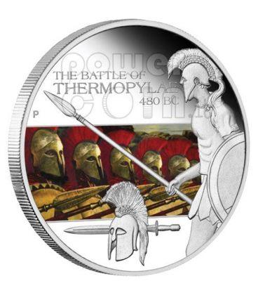 THERMOPYLAE Battle 480 BC 300 Silver Coin 1$ Tuvalu 2009