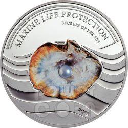 PEARL LIGHT BLUE Secrets Of The Sea Marine Life Silver Coin 5$ Palau 2013