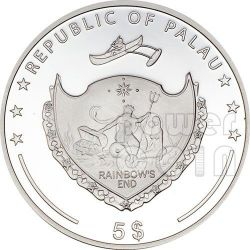 PEARL LIGHT BLUE Secrets Of The Sea Marine Life Silber Münze 5$ Palau 2013