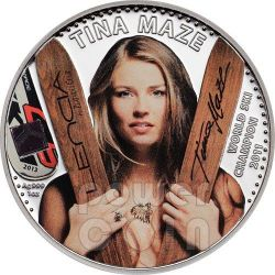 TINA MAZE Official License World Ski Champion Silver Coin 5$ Cook Islands 2013