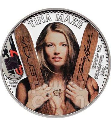 TINA MAZE Licenza Ufficiale World Ski Champion Moneta Argento 5$ Cook Islands 2013