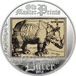 RINOCERONTE Albrecht Durer Rinascimento Moneta Argento 5$ Cook Islands 2013
