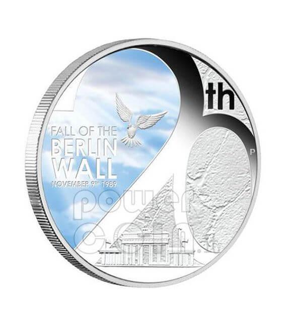 FALL OF BERLIN WALL 20th Anniversary Silber Münze 1$ 2009