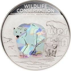 POLAR BEAR Wildlife Conservation Silver Coin Prism 5$ Cook Islands 2013