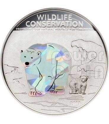 ORSO POLARE Wildlife Conservation Moneta Argento Prisma 5$ Cook Islands 2013
