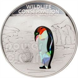 PENGUIN Wildlife Conservation Silver Coin Prism 5$ Cook Islands 2013