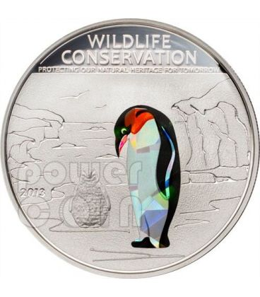 PENGUIN Wildlife Conservation Silver Coin Prism 5$ Cook Islands 2013