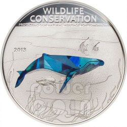 HUMPBACK WHALE Wildlife Conservation Silver Coin Prism 5$ Cook Islands 2013