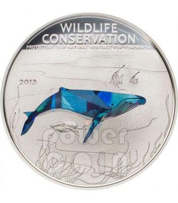 BALENA MEGATTERA Wildlife Conservation Moneta Argento Prisma 5$ Cook Islands 2013