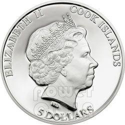 HUMPBACK WHALE Wildlife Conservation Moneda Plata Prism 5$ Cook Islands 2013