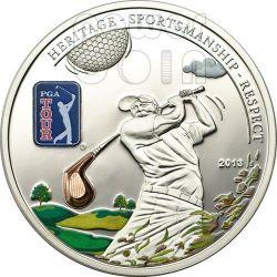 PGA TOUR GOLF CLUB Mazza Licenza Ufficiale Moneta Argento 5$ Cook Islands 2013