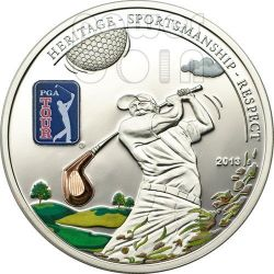 PGA TOUR GOLF CLUB Official License Silver Coin 5$ Cook Islands 2013