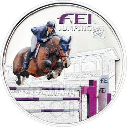 FEI JUMPING Horse Federation Equestre Internationale Silber Münze 5D Andorra 2013