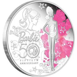BARBIE 50th Anniversary Mattel Doll Silver Coin 1$ Tuvalu 2009