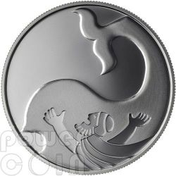 JONAH IN THE WHALE Moneda Of The Year 2012 Biblical Art Plata Proof Moneda 2 Nis Israel 2010