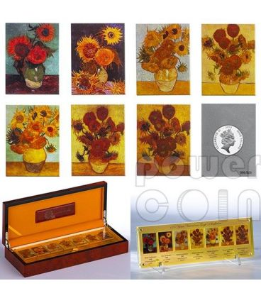 VINCENT VAN GOGH Sunflowers 125th Anniversary 7 Silver Coins Set 5$ Niue 2013