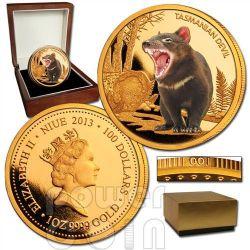 DIAVOLO DELLA TASMANIA Tasmanian Devil Moneta 1oz Oro 100$ Niue 2013