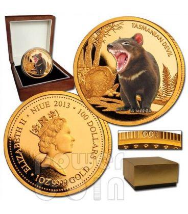 TASMANIAN DEVIL Endangered 1oz Gold Proof Coin 100$ Niue 2013