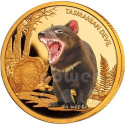 TASMANIAN DEVIL Endangered 1oz Oro Proof Moneda 100$ Niue 2013