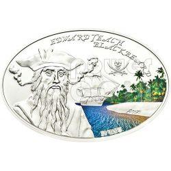 BLACKBEARD Edward Teach Famous Pirates Серебро Монета 50 Вату Вануату 2012