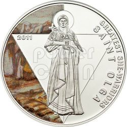 SAINT OLGA OF KIEV Greatest She Warriors Серебро Монета 500 Франков Того 2011