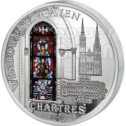 WINDOWS OF HEAVEN CHARTRES Notre Dame Cathedral Silver Coin 10$ Cook Islands 2013