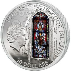 WINDOWS OF HEAVEN CHARTRES Notre Dame Cathedral Moneda Plata 10$ Cook Islands 2013