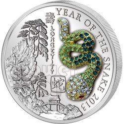 SNAKE PAVE 3D Lunar Year Silver Coin 500 Francs Rwanda 2013