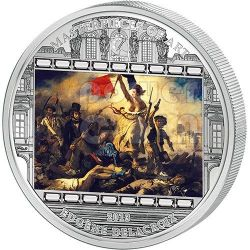 DELACROIX Eugene Liberty Leading The People 3 Oz Moneta Argento 20$ Cook Islands 2013