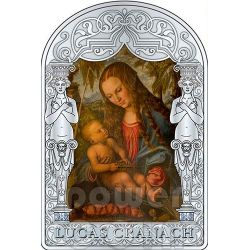 MADONNA VIRGIN UNDER THE FIR TREE Lucas CRANACH The Elder Renaissance Silver Coin 15D Andorra 2013
