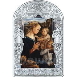 MADONNA AND CHILD WITH TWO ANGELS Filippo Lippi Renaissance Серебро Монета 15D Андора 2013