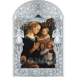 MADONNA AND CHILD WITH TWO ANGELS Filippo Lippi Renaissance Silver Coin 15D Andorra 2013