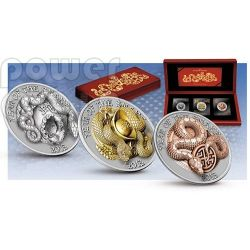 SNAKE THREE DIMENSIONAL 3D Lunar Year Серебро Монета Set 500 Франков Руанда 2013