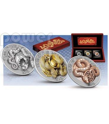 SNAKE THREE DIMENSIONAL 3D Lunar Year Silver Coin Set 500 Francs Rwanda 2013